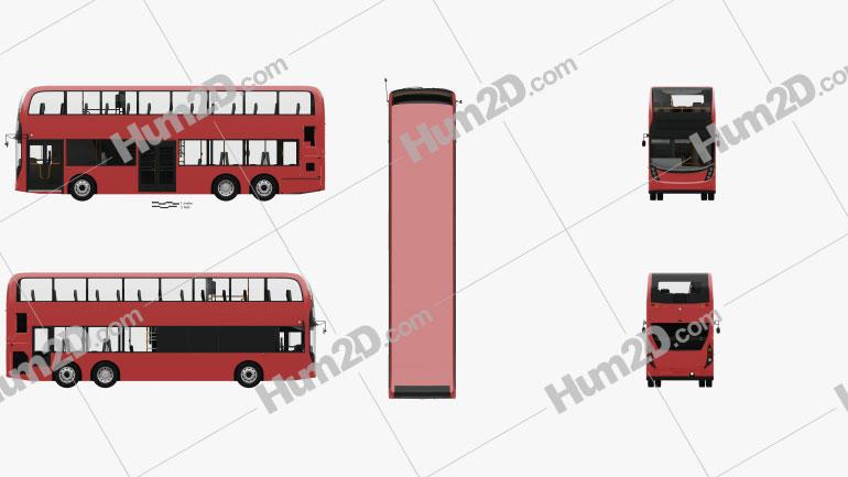 Alexander Dennis Enviro 500 Double Decker Bus with HQ interior 2016 clipart