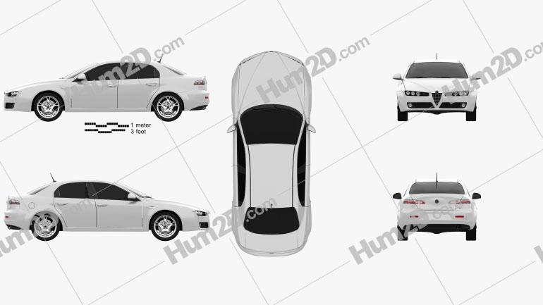Alfa Romeo 159 sedan 2009 Clipart Image