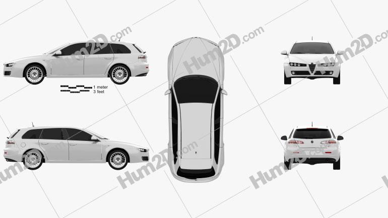 Alfa Romeo 159 Sportwagon 2011 Clipart Image