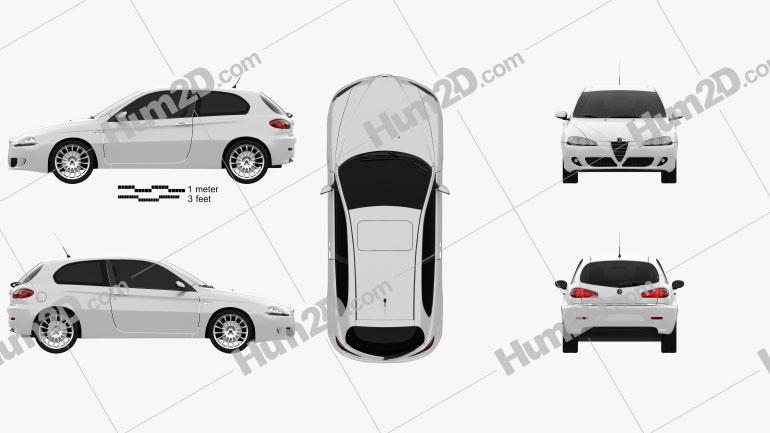 Alfa Romeo 147 3-door 2009 car clipart