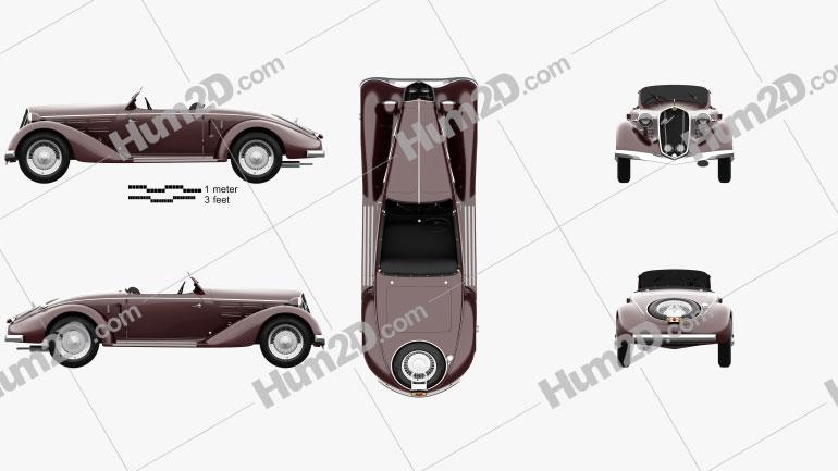 Alfa Romeo 6C 2300 S Touring Pescara Spider 1935 Clipart Image
