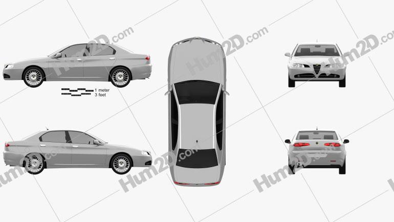 Alfa Romeo 166 2003 Clipart Image