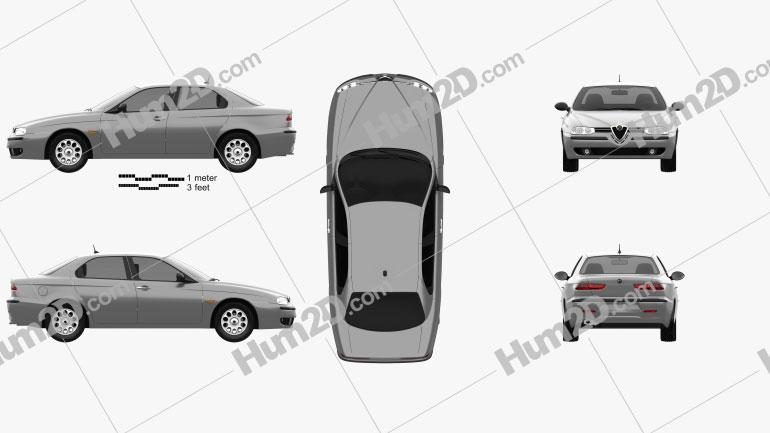 Alfa Romeo 156 1997 Clipart Image