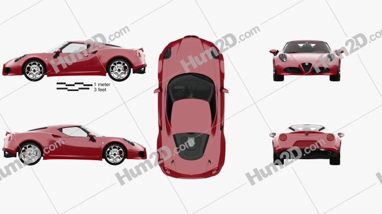 Alfa Romeo 4C with HQ interior 2014 car clipart