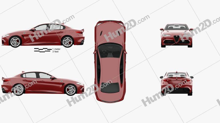 Alfa Romeo Giulia Quadrifoglio with HQ interior 2016 car clipart