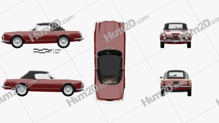 Alfa Romeo 2600 spider touring with HQ interior 1962 car clipart