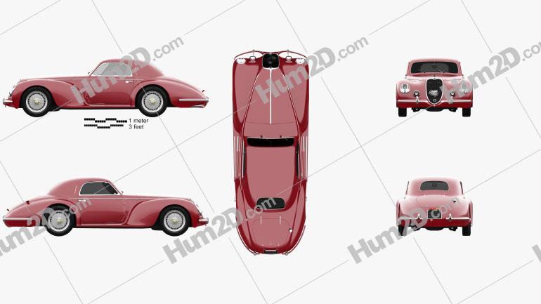 Alfa Romeo 6c 2500 Corsa Touring coupe 1939 car clipart