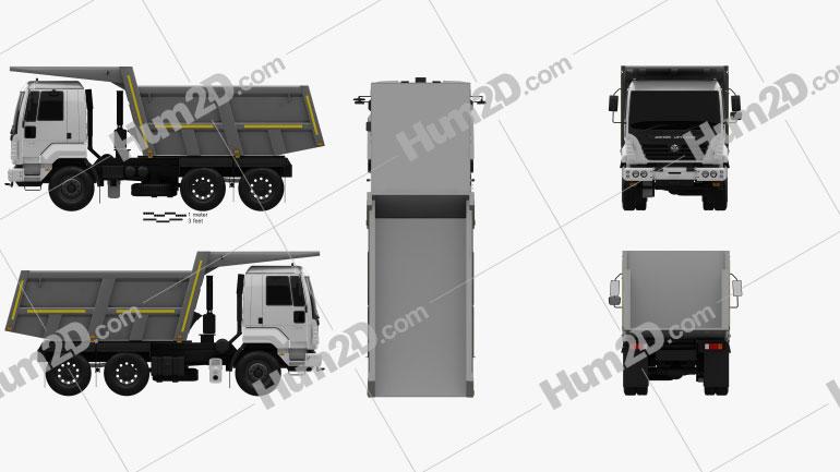 Ashok Leyland U-2523 T Tipper Truck 2012 Clipart Image