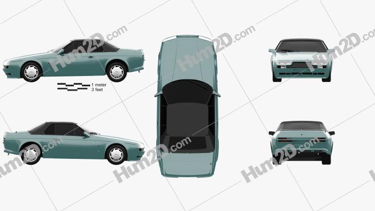 Aston Martin V8 Zagato Volante 1987 car clipart