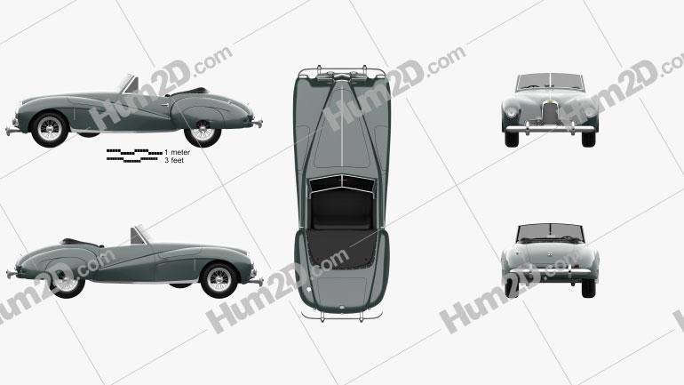 Aston Martin DB1 1948 car clipart