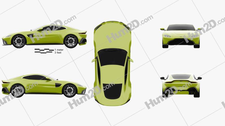 Aston Martin Vantage coupe 2018 car clipart