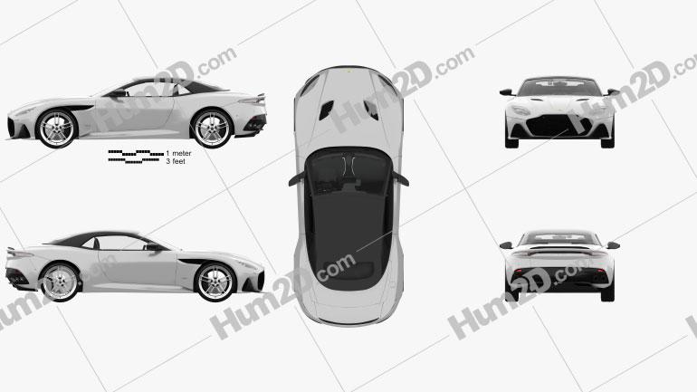 Aston Martin DBS Superleggera Volante with HQ interior 2020 car clipart