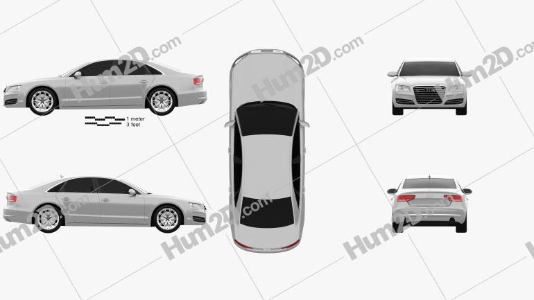 Audi A8 (D4) 2010 Clipart Image