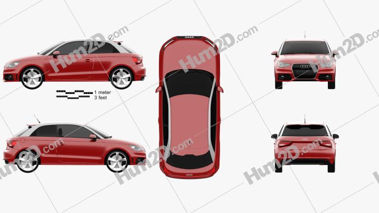 Audi A1 2010 Clipart Image