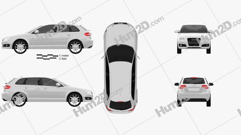 Audi A3 Sportback 2011 Clipart Image