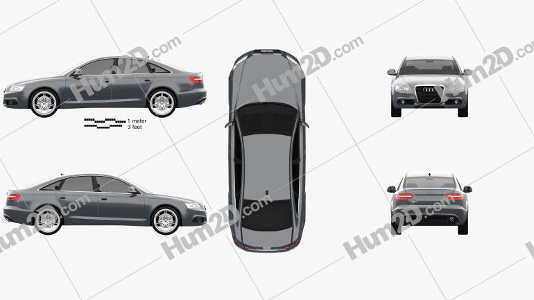 Audi A6 (C6) sedan 2011 Clipart Image