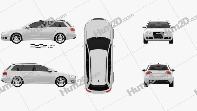 Audi A4 Avant 2005 Clipart Image