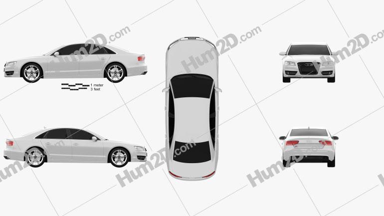 Audi S8 2013 Clipart Image