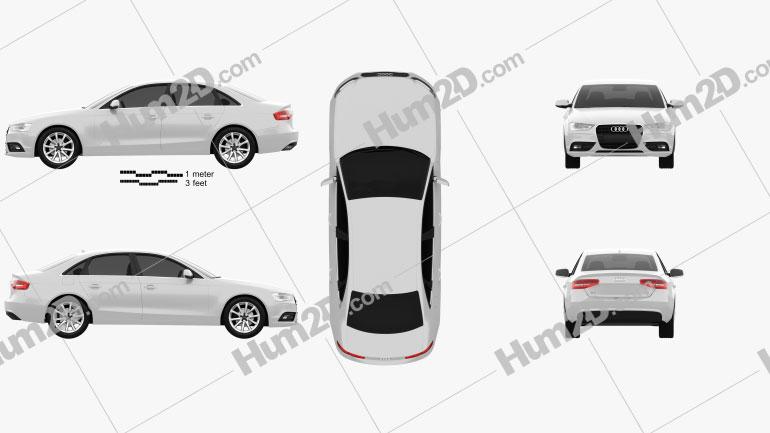 Audi A4 Sedan 2013 Clipart Image