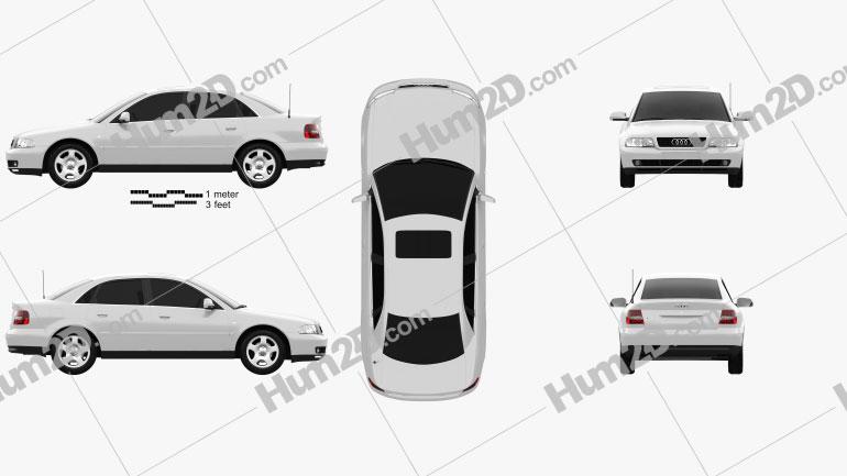 Audi A4 Sedan 1999 Clipart Image