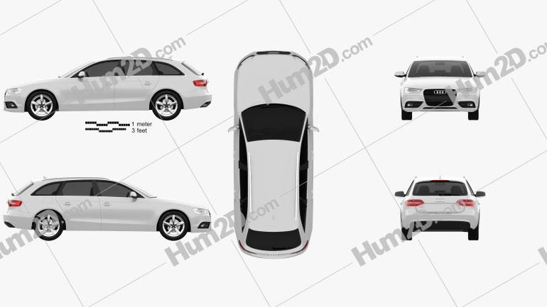 Audi A4 Avant 2013 Clipart Image