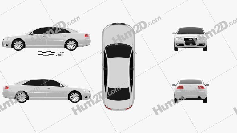 Audi A8 2009 Clipart Image