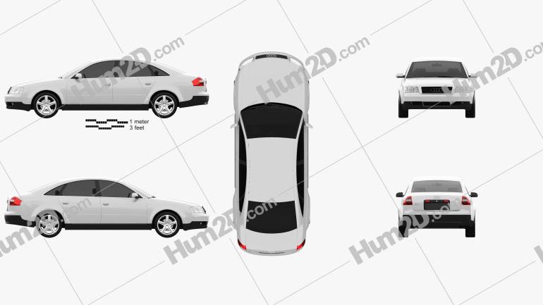 Audi A6 saloon (C5) 2001 Clipart Image