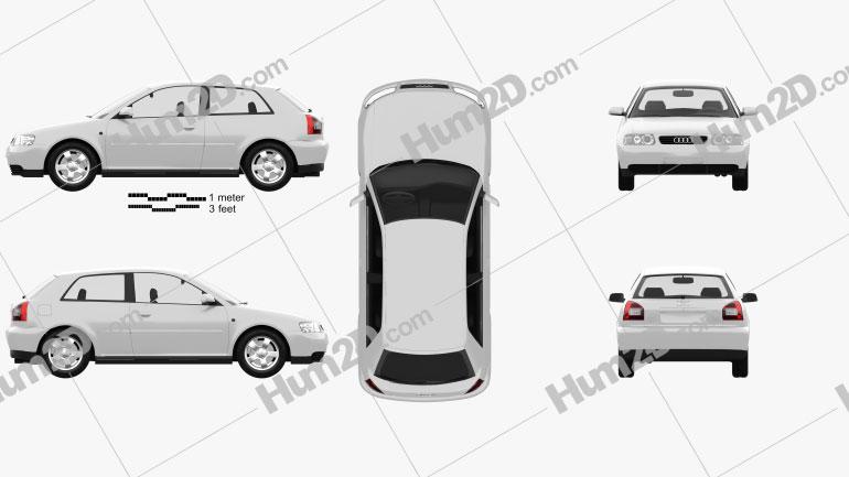 Audi A3 (8L) 3-door 2003 Clipart Image