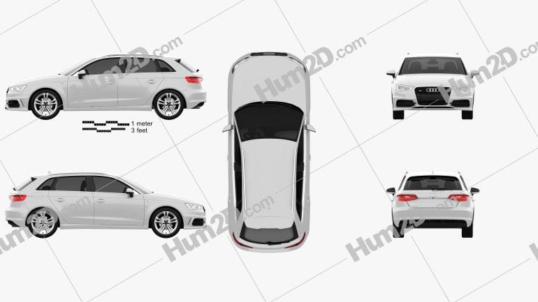 Audi A3 Sportback S-Line 2013 Clipart Image
