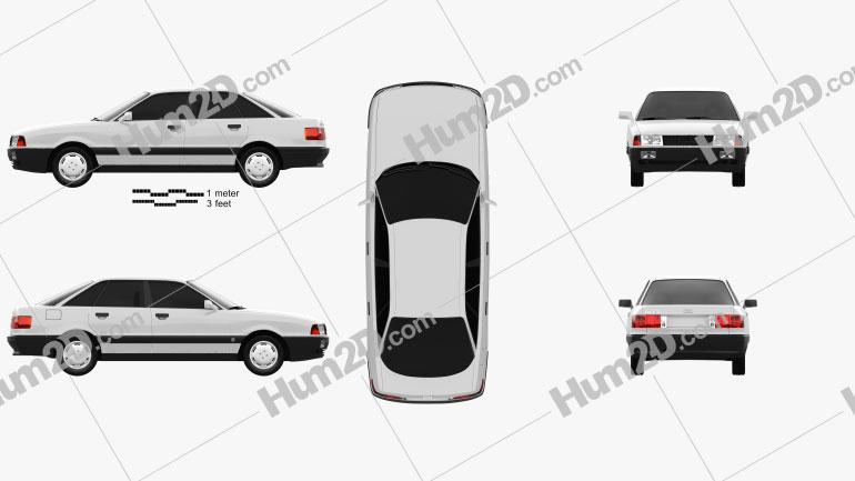 Audi 80 (B3) 1986 car clipart