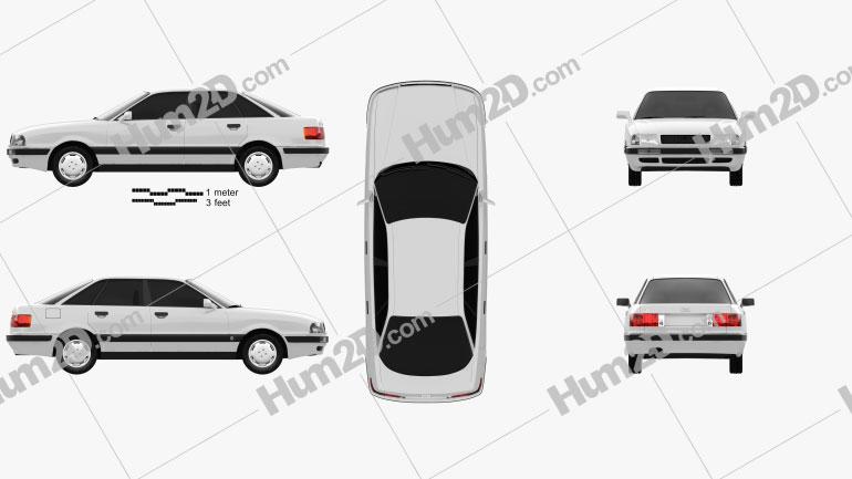Audi 80 (B4) 1991 Clipart Image