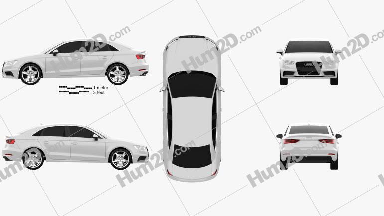 Audi A3 sedan 2013 Clipart Image