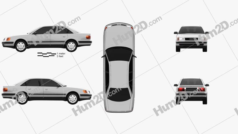 Audi 100 (C4) sedan 1991 Clipart Image