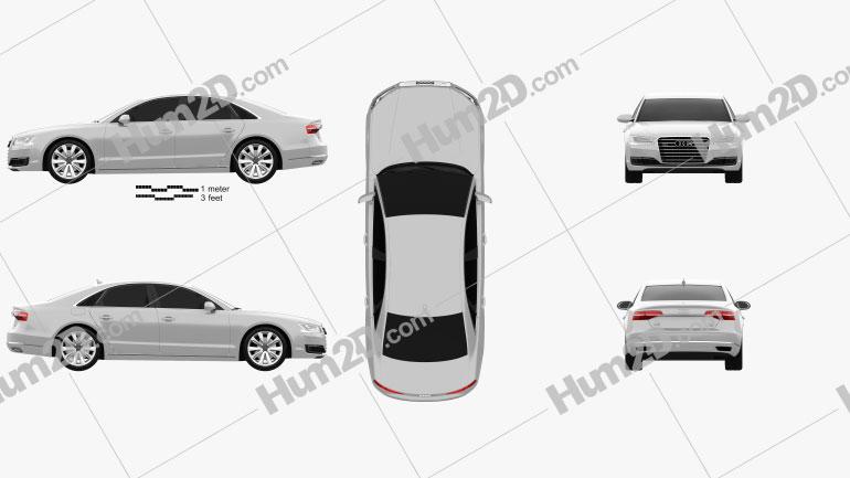 Audi A8 (D4) 2014 Clipart Image