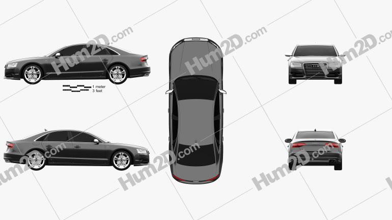 Audi S8 (D4) 2014 Clipart Image