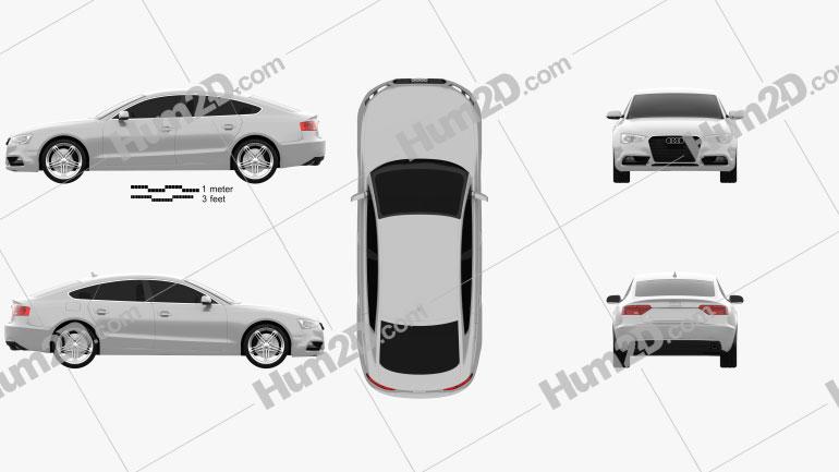 Audi A5 (8TA) sportback 2012 car clipart