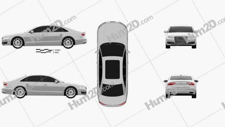 Audi A8 (D4) L 2014 Clipart Bild