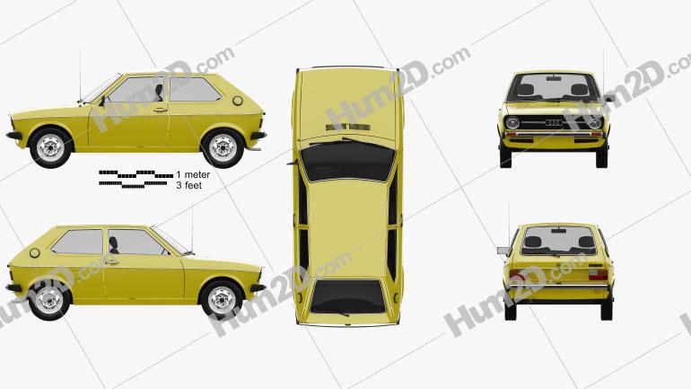 Audi 50 (Typ 86) 1974 Clipart