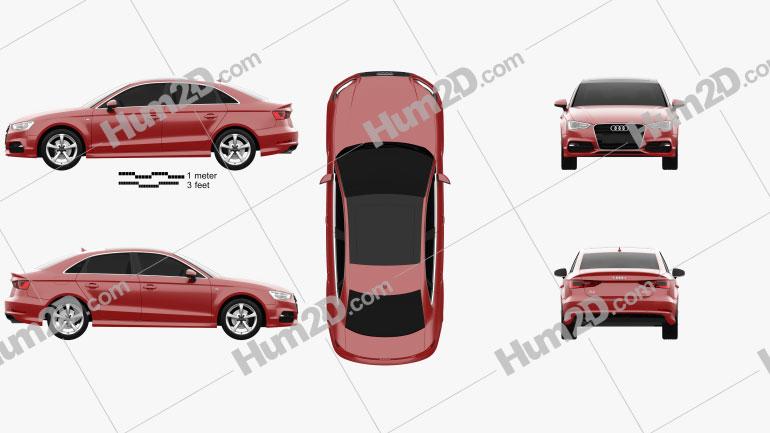 Audi A3 S line sedan 2013 Clipart Image