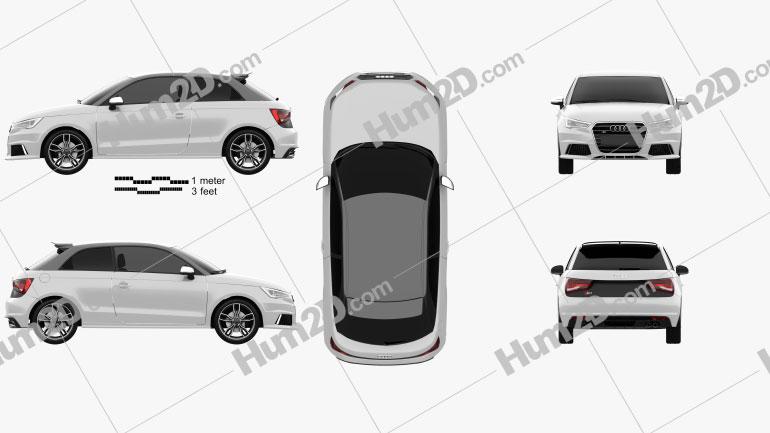 Audi S1 de 3 portas 2014 Imagem Clipart