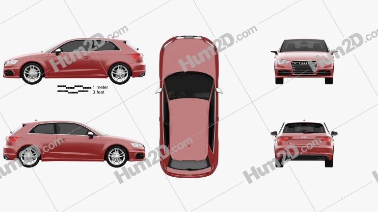 Audi S3 3-türig 2014 car clipart