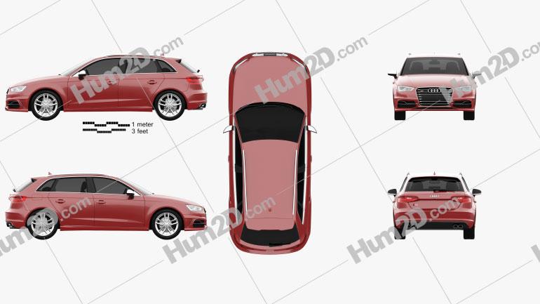 Audi S3 Sportback 2014 Clipart Image