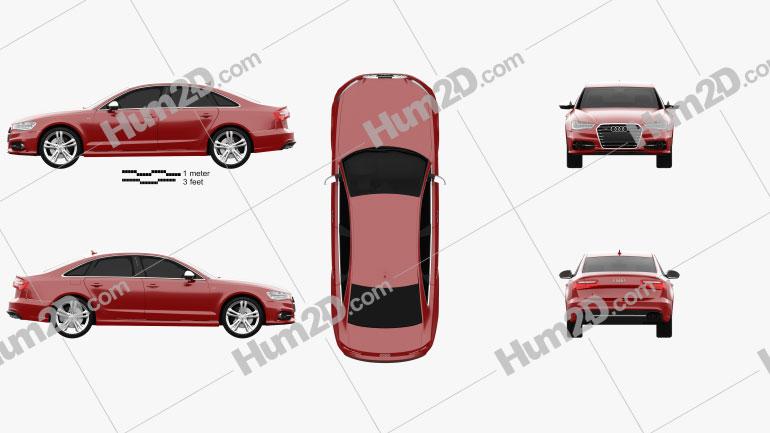 Audi S6 (C7) saloon 2012 Clipart Image