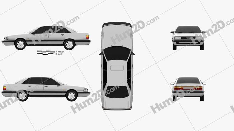 Audi 200 sedan 1983 Clipart Image