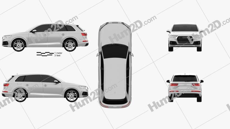 Audi Q7 S-line 2016 car clipart