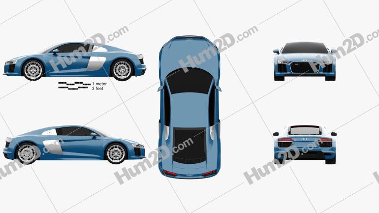 Audi R8 2016 car clipart