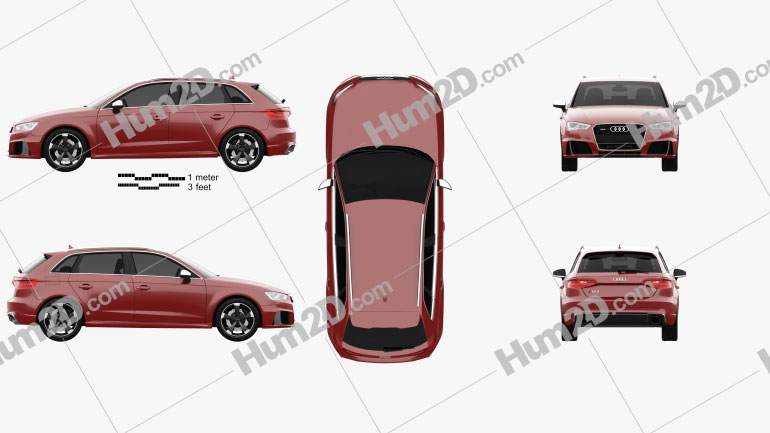 Audi RS3 Sportback 2015 Clipart Image