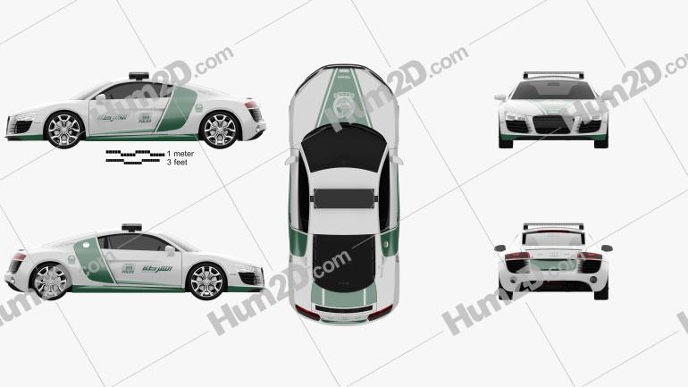 Audi R8 Police Dubai 2013 car clipart