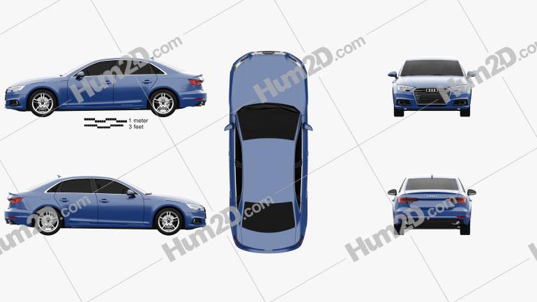 Audi A4 (B9) sedan 2016 Clipart Image