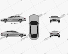 Audi A7 Sportback S-Line 2015 car clipart